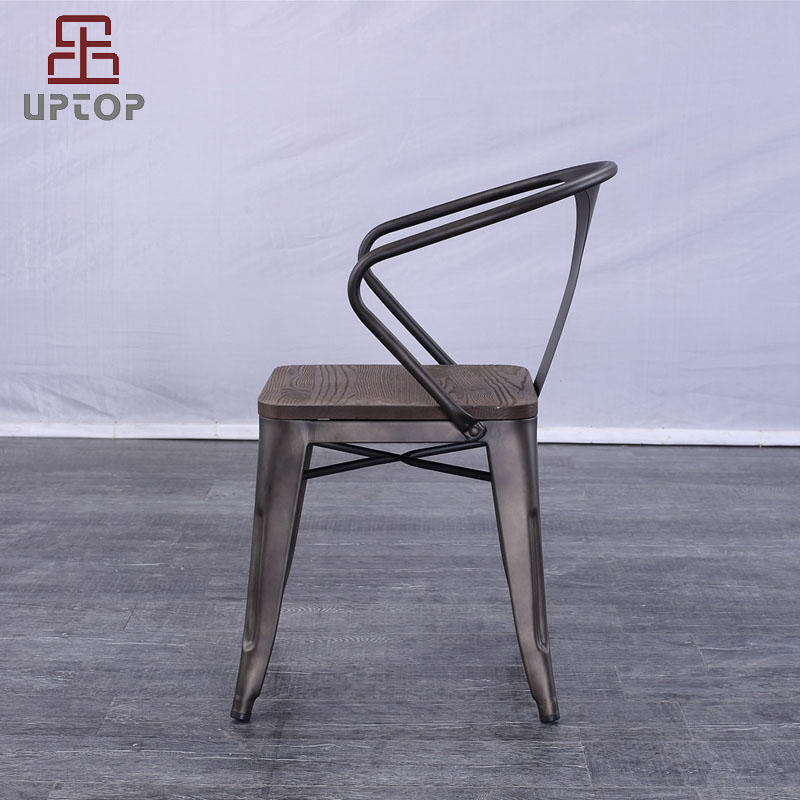 Rusty  Indoor-Outdoor Metal Dining Chair with Arms (SP-MC039)