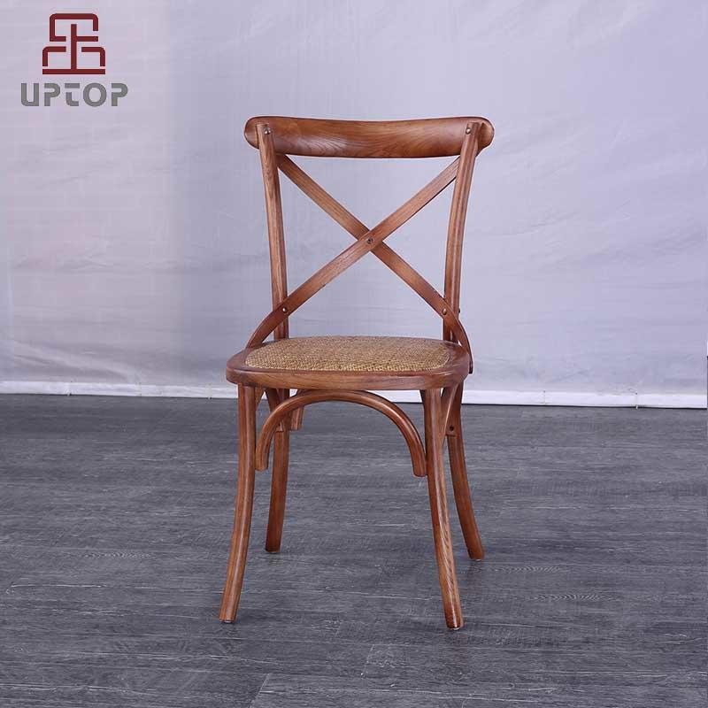 Cross Back Solid Elm Wood Dining Side Chair With Rattan Seat (SP-EC140)