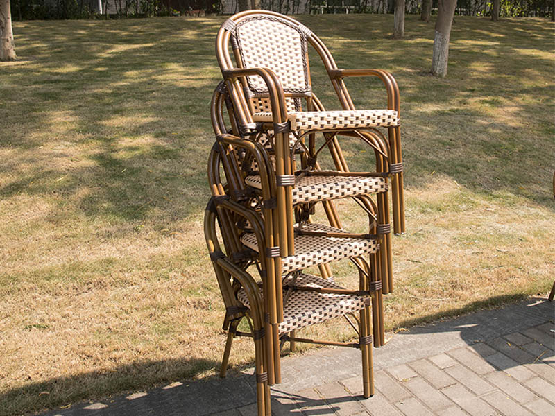 Uptop Furnishings-Industrial Chairs All-weather Wicker French Café Bistro Chair-1