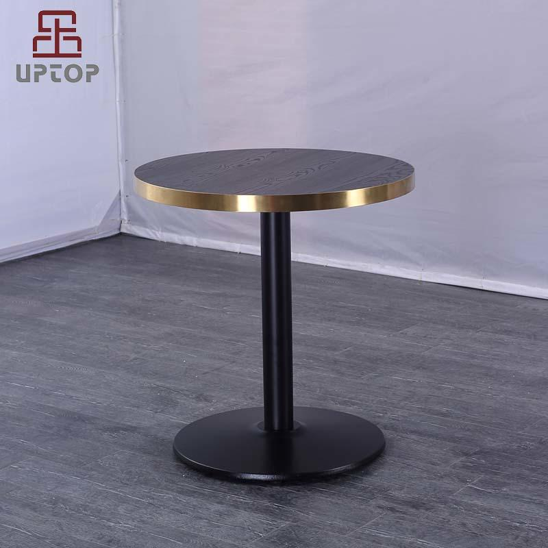 Laminate Top Round Restaurant Dining Table W/ Gold stainless steel edge (SP-RT618)