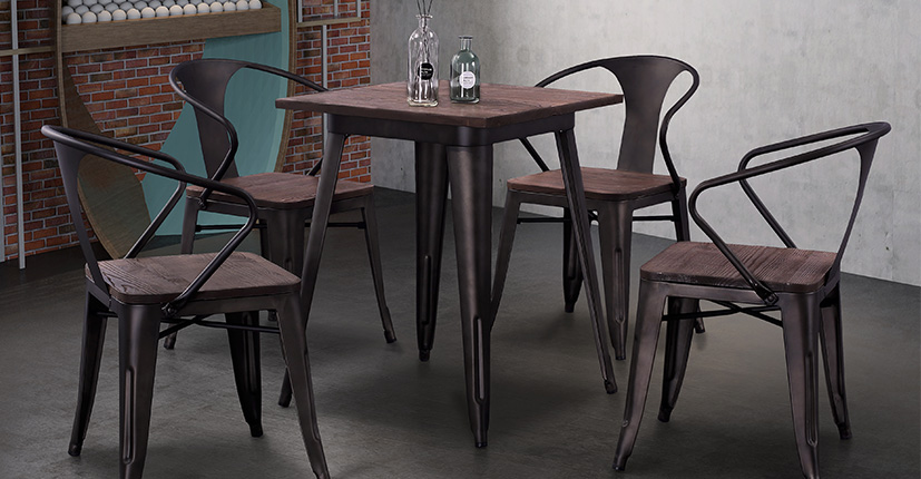 Uptop Furnishings-Best Dining Tables For Small Spaces Industrial Tolix Style Dining Table