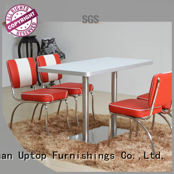 white diner industrial table and chair Uptop Furnishings manufacture