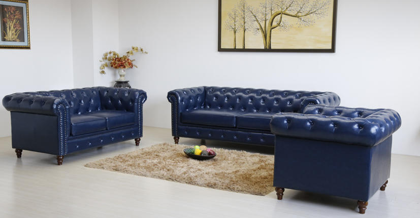 Uptop Furnishings-Office Modern Sofa Classic Scroll Arm Tufted Button Leather Sofa