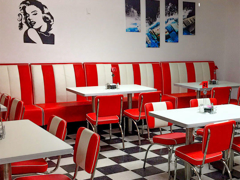 Uptop Furnishings-Find Banquette Booth American Style 1950s Furniture Restaurant Sofa Booth-2